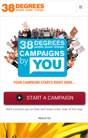 Example of a user starting a campaign