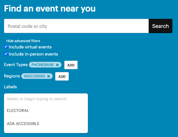 expanded filters on an event search page